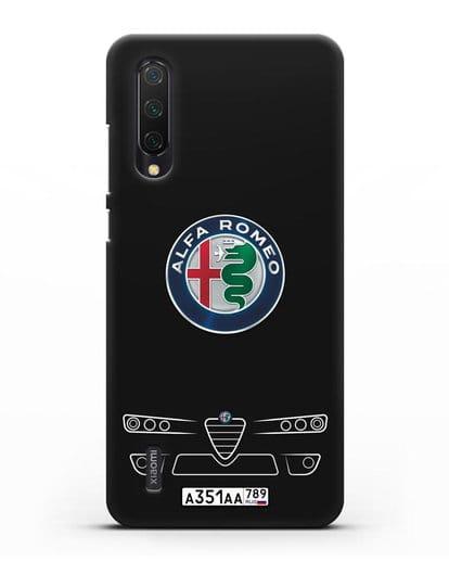 Чехол Alfa Romeo с номерным знаком силикон черный для Xiaomi Mi 9 Lite