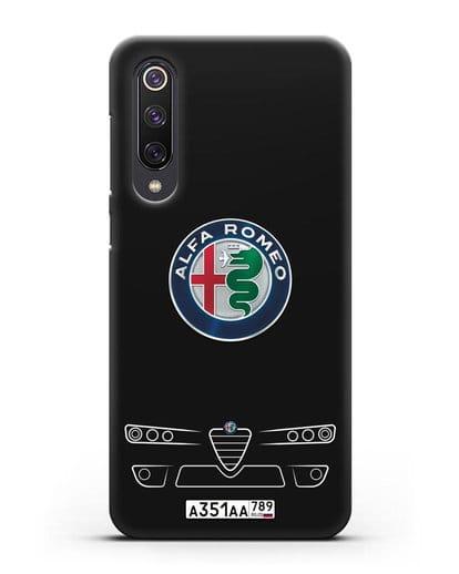 Чехол Alfa Romeo с номерным знаком силикон черный для Xiaomi Mi 9 SE