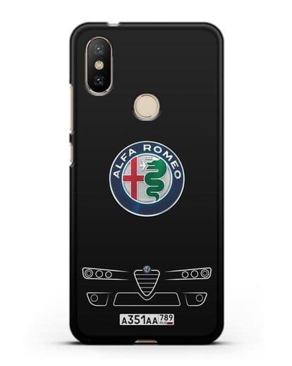 Чехол Alfa Romeo с номерным знаком силикон черный для Xiaomi Mi A2
