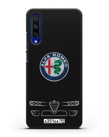 Чехол Alfa Romeo с номерным знаком силикон черный для Xiaomi Mi A3