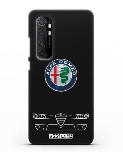 Чехол Alfa Romeo с номерным знаком силикон черный для Xiaomi Mi Note 10 lite