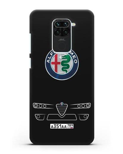 Чехол Alfa Romeo с номерным знаком силикон черный для Xiaomi Redmi 10X
