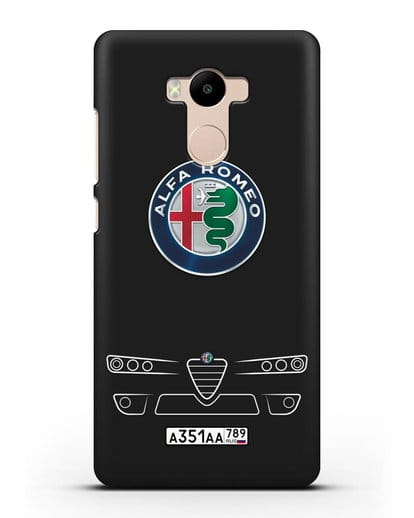 Чехол Alfa Romeo с номерным знаком силикон черный для Xiaomi Redmi 4 Pro
