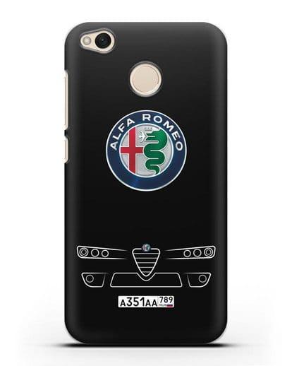 Чехол Alfa Romeo с номерным знаком силикон черный для Xiaomi Redmi 4X