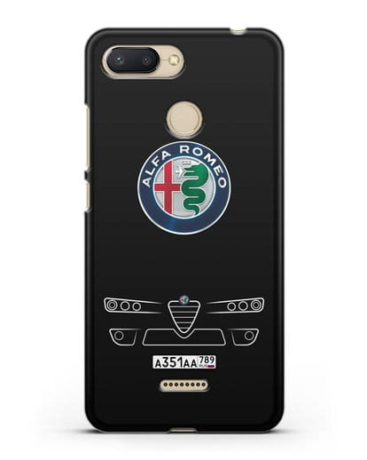 Чехол Alfa Romeo с номерным знаком силикон черный для Xiaomi Redmi 6