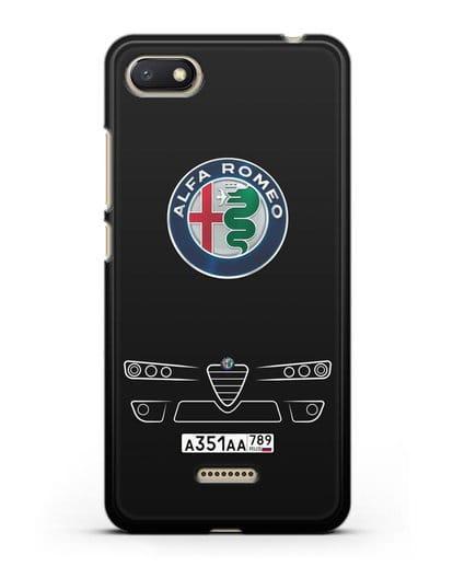Чехол Alfa Romeo с номерным знаком силикон черный для Xiaomi Redmi 6A