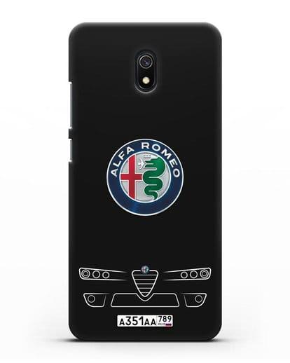 Чехол Alfa Romeo с номерным знаком силикон черный для Xiaomi Redmi 8A