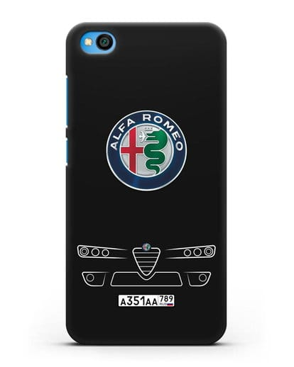 Чехол Alfa Romeo с номерным знаком силикон черный для Xiaomi Redmi Go
