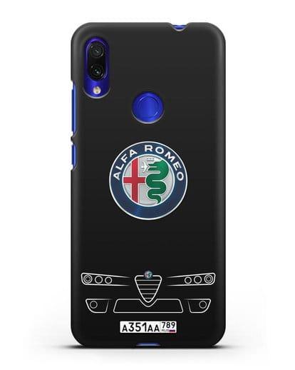 Чехол Alfa Romeo с номерным знаком силикон черный для Xiaomi Redmi Note 7