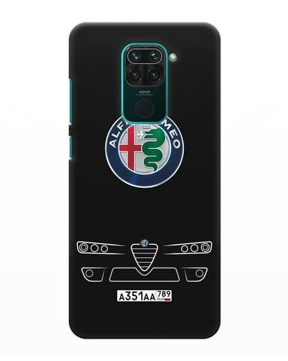 Чехол Alfa Romeo с номерным знаком силикон черный для Xiaomi Redmi Note 9