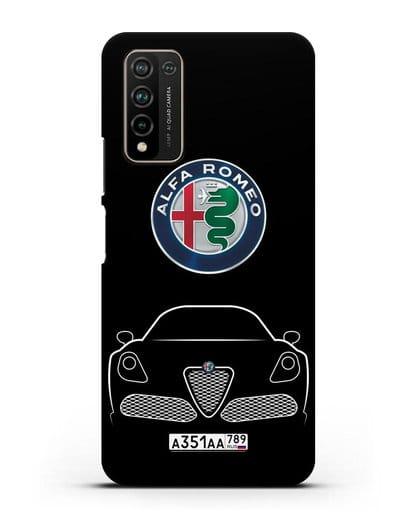 Чехол Alfa Romeo с автомобильным номером силикон черный для Honor 10X Lite