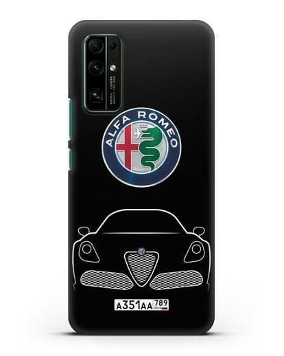 Чехол Alfa Romeo с автомобильным номером силикон черный для Honor 30