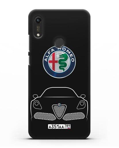 Чехол Alfa Romeo с автомобильным номером силикон черный для Honor 8A Prime
