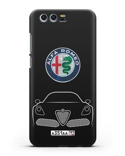 Чехол Alfa Romeo с автомобильным номером силикон черный для Honor 9