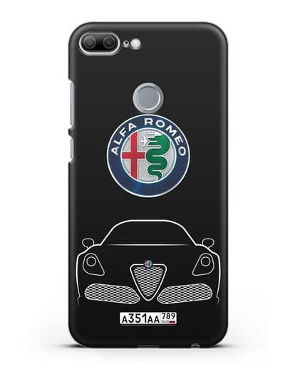 Чехол Alfa Romeo с автомобильным номером силикон черный для Honor 9 Lite