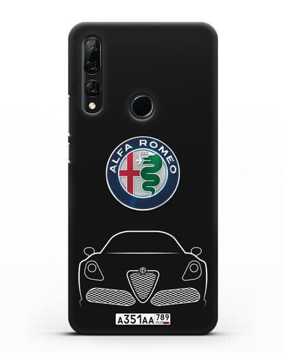 Чехол Alfa Romeo с автомобильным номером силикон черный для Honor 9X