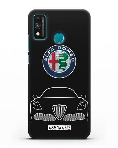 Чехол Alfa Romeo с автомобильным номером силикон черный для Honor 9X lite