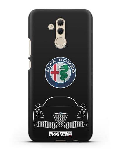 Чехол Alfa Romeo с автомобильным номером силикон черный для Huawei Mate 20 Lite