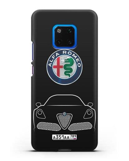 Чехол Alfa Romeo с автомобильным номером силикон черный для Huawei Mate 20 Pro
