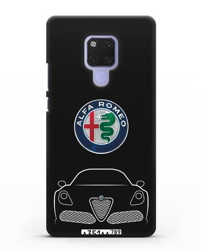 Чехол Alfa Romeo с автомобильным номером силикон черный для Huawei Mate 20X