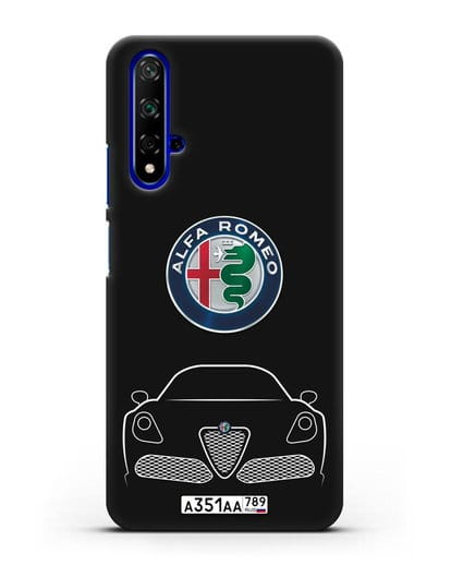 Чехол Alfa Romeo с автомобильным номером силикон черный для Huawei Nova 5T