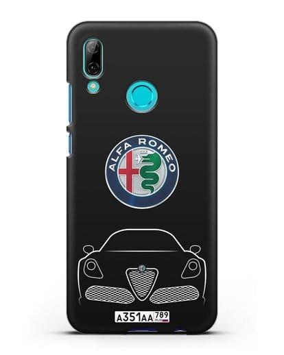 Чехол Alfa Romeo с автомобильным номером силикон черный для Huawei P Smart 2019