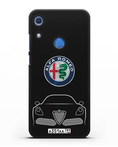 Чехол Alfa Romeo с автомобильным номером силикон черный для Huawei Y6s