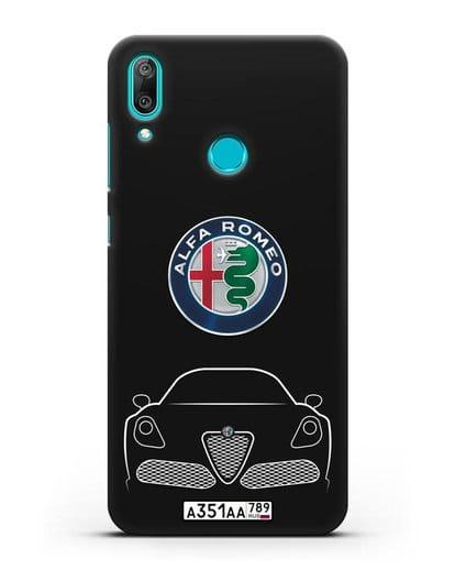 Чехол Alfa Romeo с автомобильным номером силикон черный для Huawei Y7 2019
