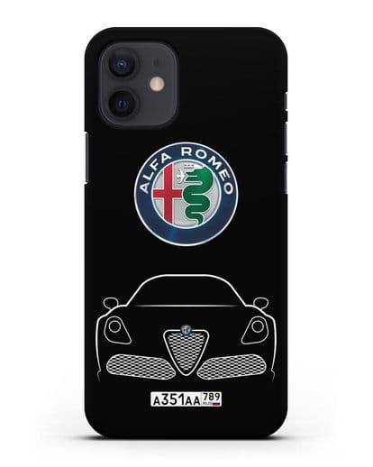 Чехол Alfa Romeo с автомобильным номером силикон черный для iPhone 12