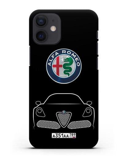 Чехол Alfa Romeo с автомобильным номером силикон черный для iPhone 12 mini