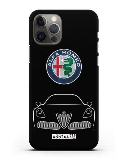 Чехол Alfa Romeo с автомобильным номером силикон черный для iPhone 12 Pro