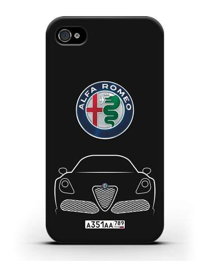 Чехол Alfa Romeo с автомобильным номером силикон черный для iPhone 4/4s