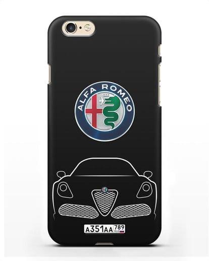 Чехол Alfa Romeo с автомобильным номером силикон черный для iPhone 6s