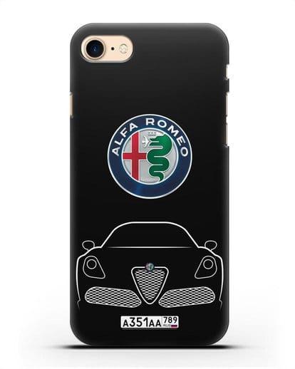 Чехол Alfa Romeo с автомобильным номером силикон черный для iPhone 8