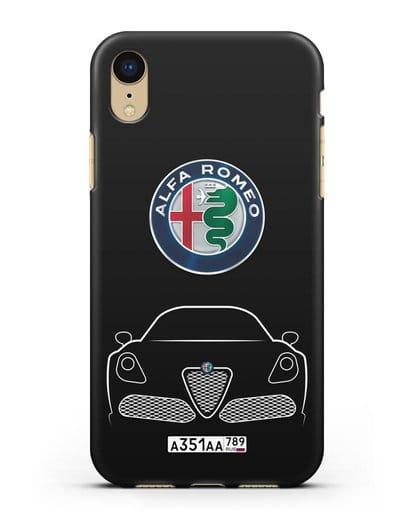 Чехол Alfa Romeo с автомобильным номером силикон черный для iPhone XR