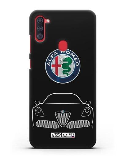 Чехол Alfa Romeo с автомобильным номером силикон черный для Samsung Galaxy A11 [SM-A115F]