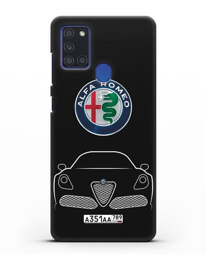 Чехол Alfa Romeo с автомобильным номером силикон черный для Samsung Galaxy A21s [SM-A217F]