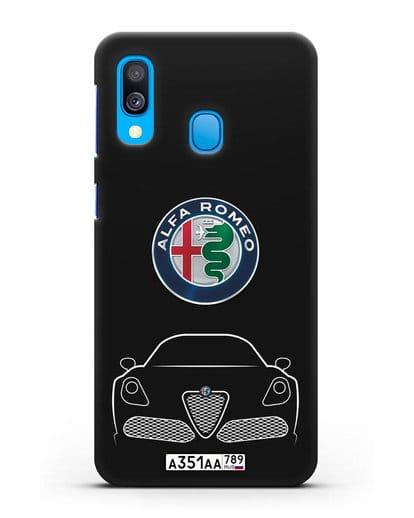Чехол Alfa Romeo с автомобильным номером силикон черный для Samsung Galaxy A40 [SM-A405F]