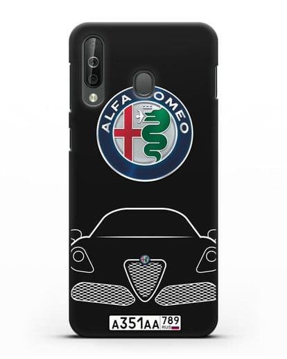 Чехол Alfa Romeo с автомобильным номером силикон черный для Samsung Galaxy A40s [SM-A507FN]