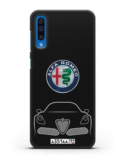 Чехол Alfa Romeo с автомобильным номером силикон черный для Samsung Galaxy A50 [SM-A505F]