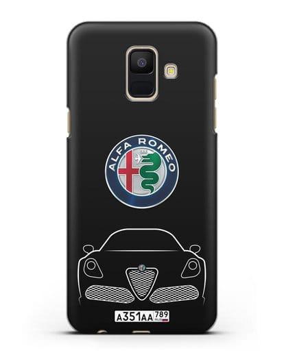 Чехол Alfa Romeo с автомобильным номером силикон черный для Samsung Galaxy A6 2018 [SM-A600F]