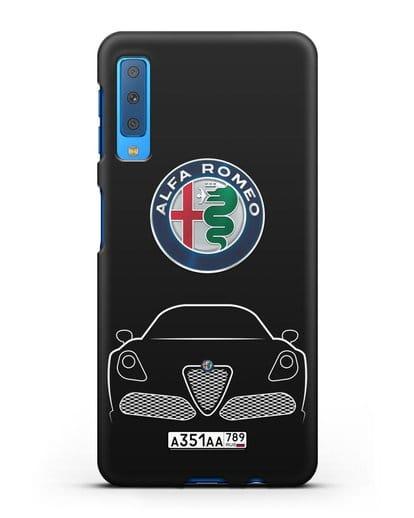 Чехол Alfa Romeo с автомобильным номером силикон черный для Samsung Galaxy A7 2018 [SM-A750F]