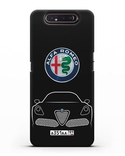 Чехол Alfa Romeo с автомобильным номером силикон черный для Samsung Galaxy A80 [SM-A805F]