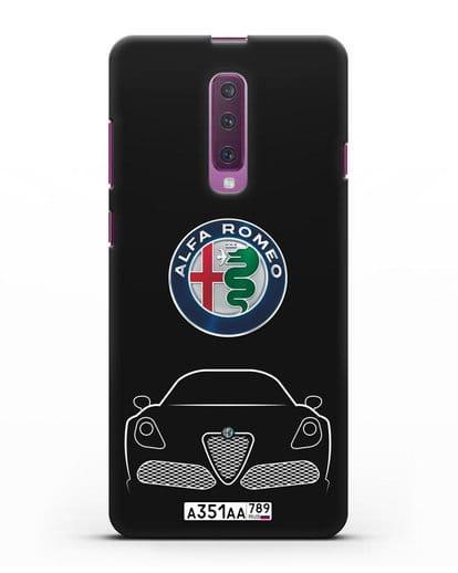 Чехол Alfa Romeo с автомобильным номером силикон черный для Samsung Galaxy A90 [SM-A908N]