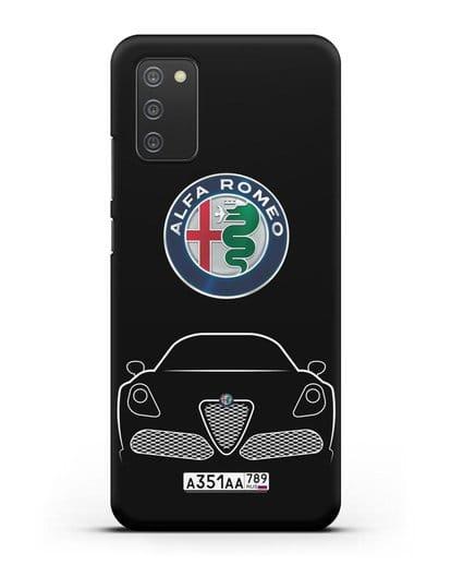 Чехол Alfa Romeo с автомобильным номером силикон черный для Samsung Galaxy A02s [SM-A025F]