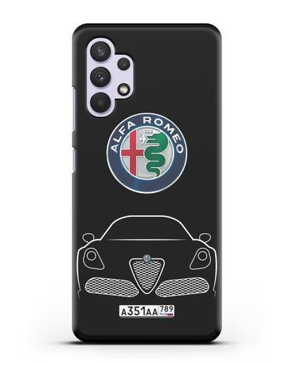 Чехол Alfa Romeo с автомобильным номером силикон черный для Samsung Galaxy A32 4G [SM-A325F]