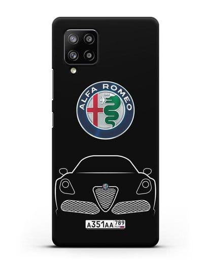 Чехол Alfa Romeo с автомобильным номером силикон черный для Samsung Galaxy A42 [SM-A426B]