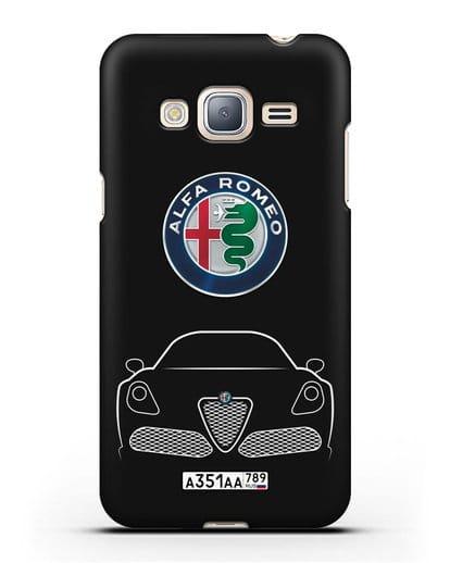 Чехол Alfa Romeo с автомобильным номером силикон черный для Samsung Galaxy J3 2016 [SM-J320F]