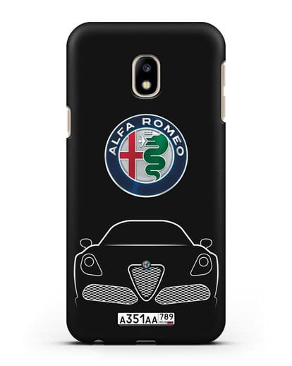 Чехол Alfa Romeo с автомобильным номером силикон черный для Samsung Galaxy J3 2017 [SM-J330F]