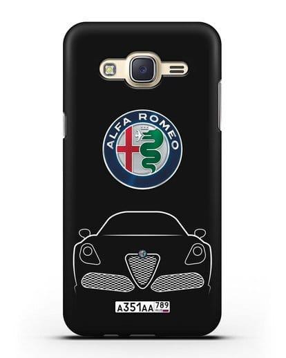 Чехол Alfa Romeo с автомобильным номером силикон черный для Samsung Galaxy J7 Neo [SM-J701F]
